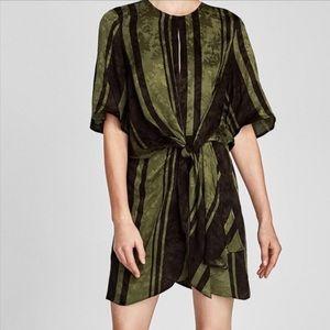 NWT Zara Olive Flowy Tie Front Dress